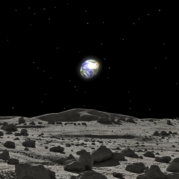 moon surface rocks scene 3D