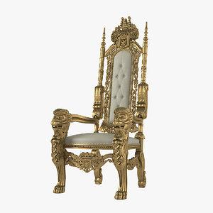 3D lion king throne chair model