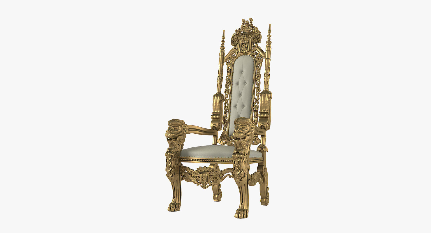 3D lion king throne chair model