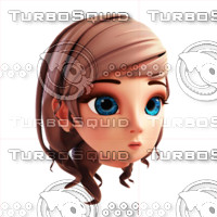 Stylized 3D Girl Head Template #2 Finish Version