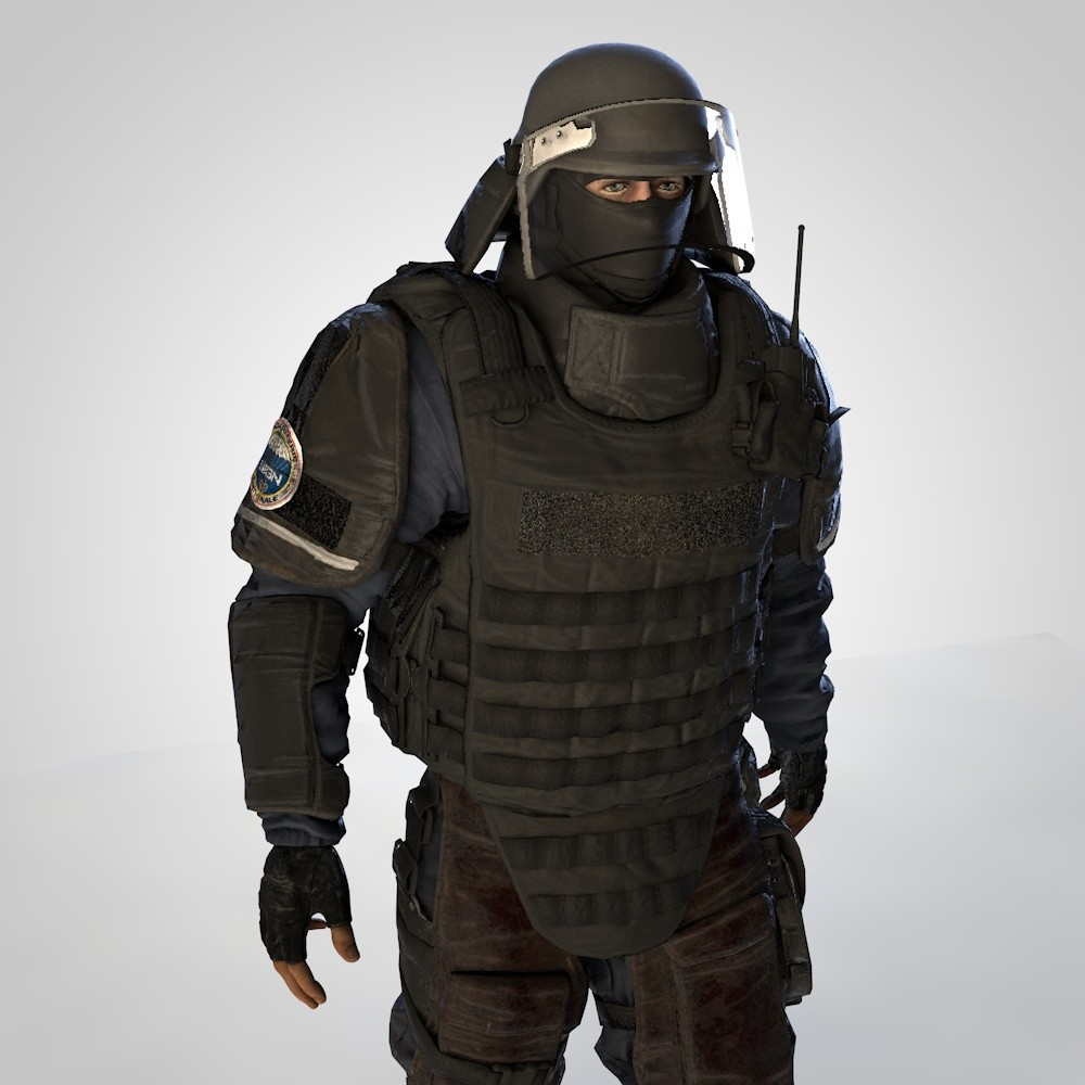 3D heavy gign soldier rigged