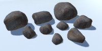 9 Low Poly Rocks