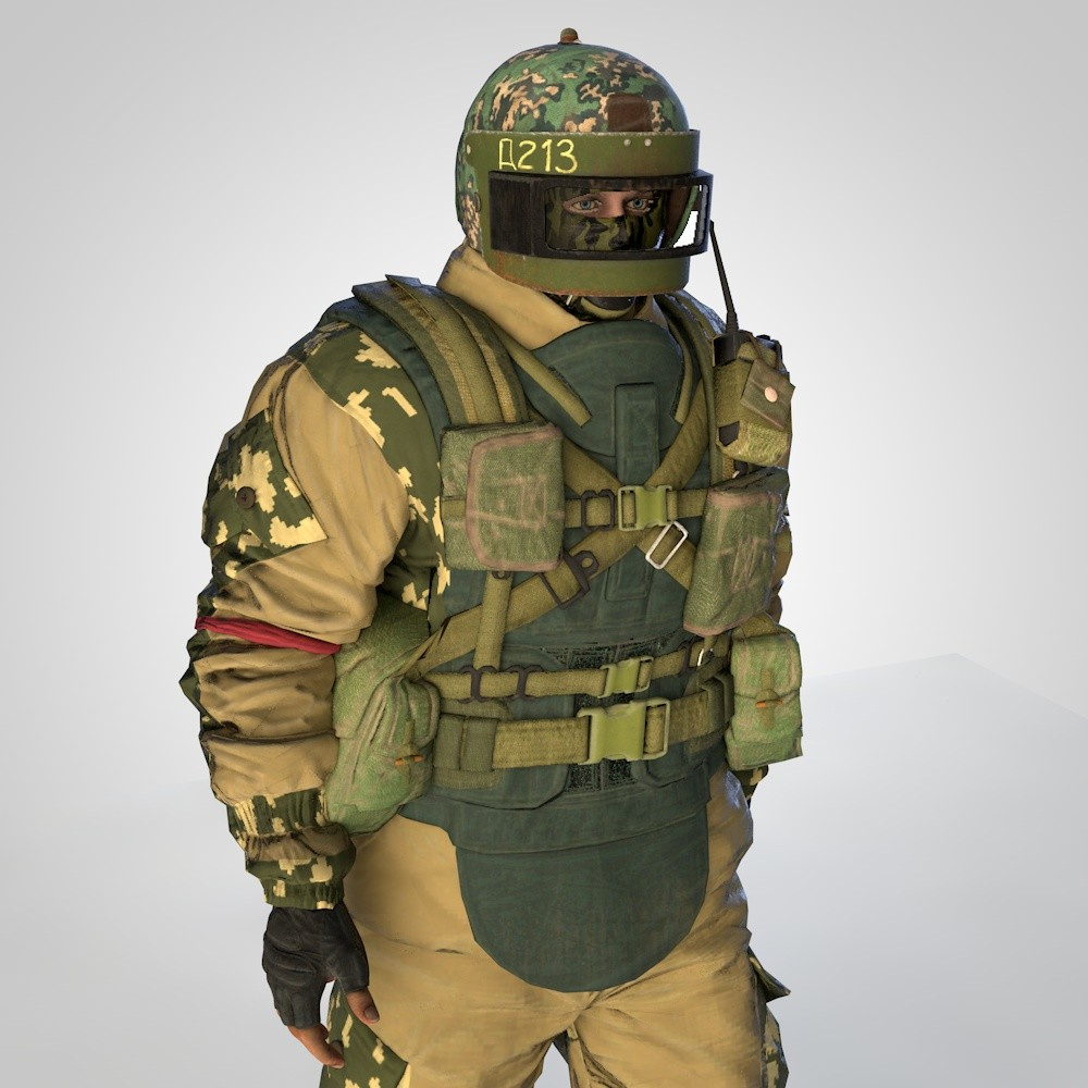 russian soldier rigged animation model