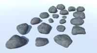 19 rocks 3D model