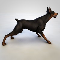 barking doberman dog rigged 3D model