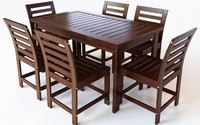 outdoor dining set table chairs 3D