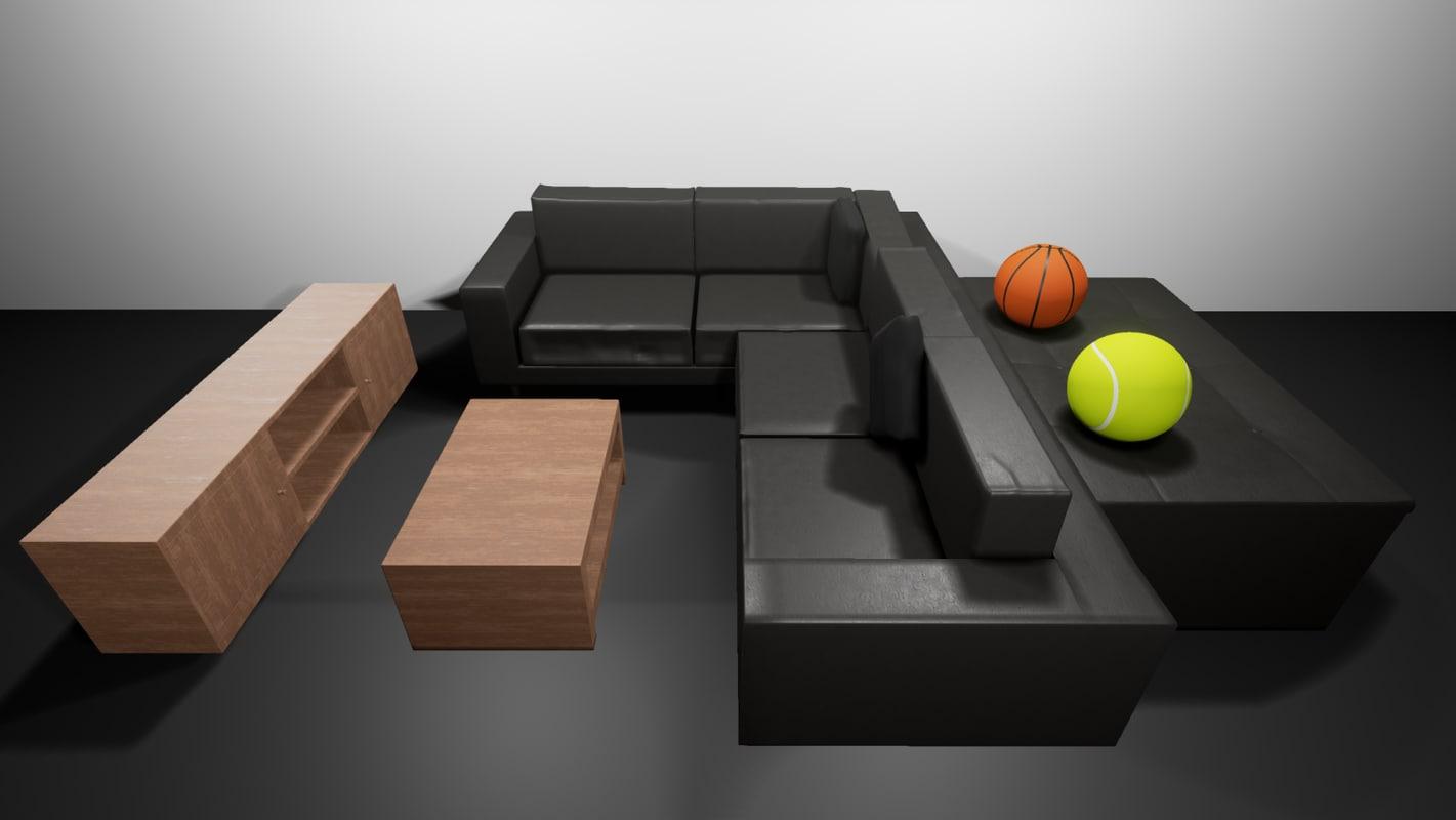 3D leather sofa set model