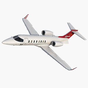 3D model bombardier learjet 45xr rigged