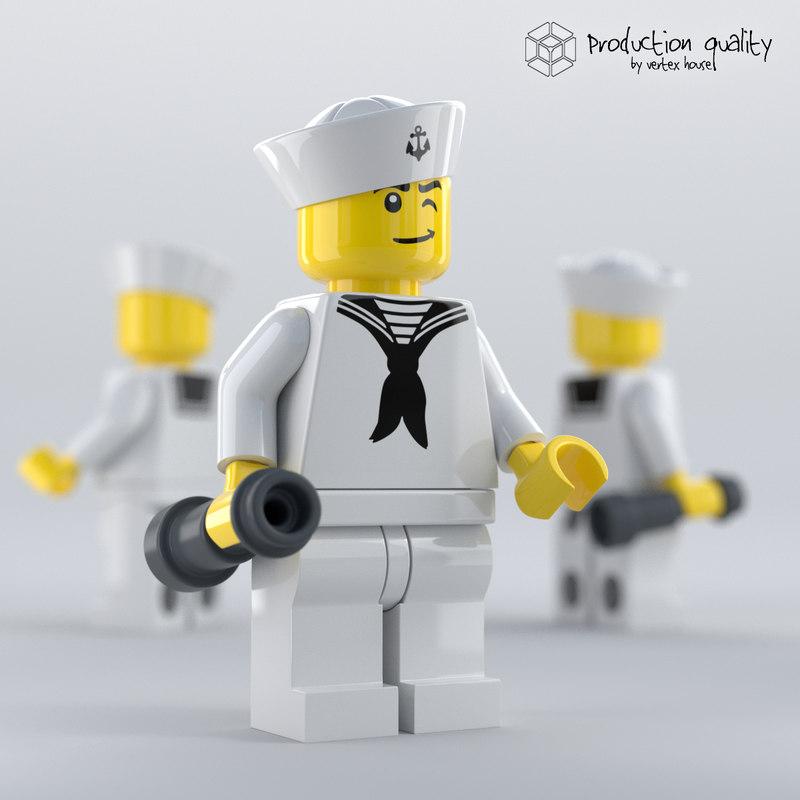 3D lego sailor figure