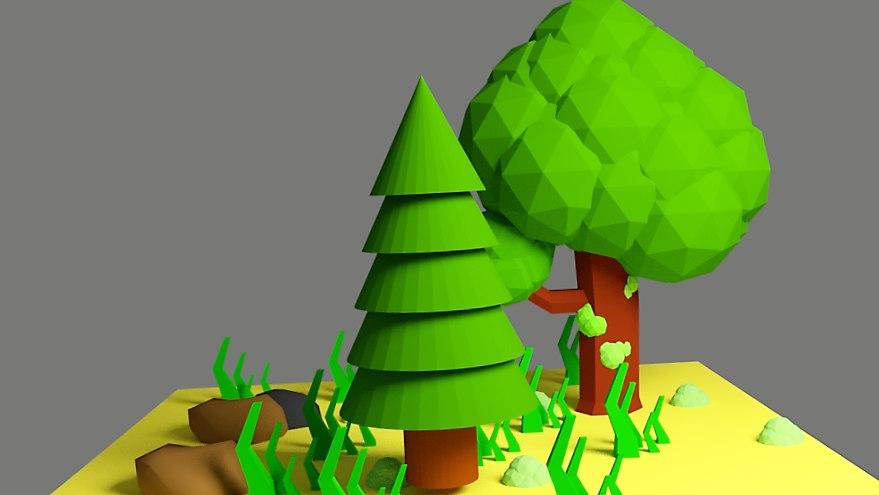 trees rocks grass 3D model