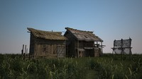 The fisherman's wooden house is built in 3D models
