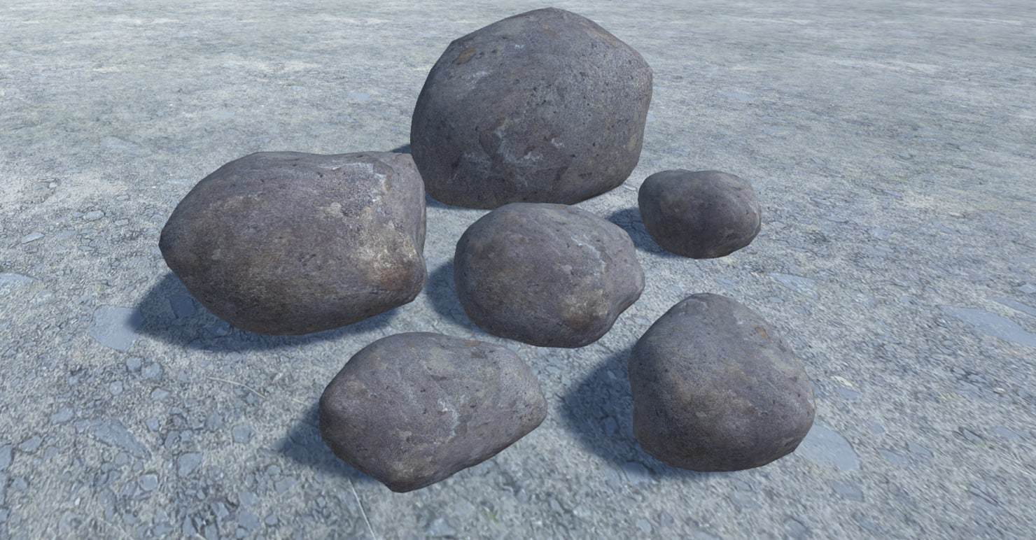 3D 6 rocks model