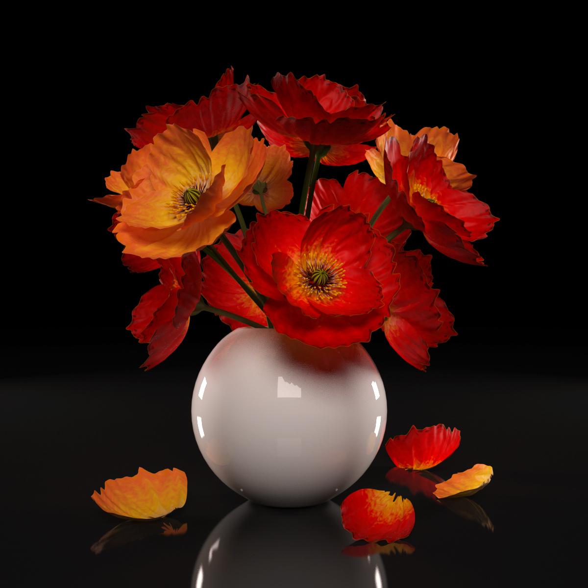 Red Poppies Flowers Model Turbosquid 1160325
