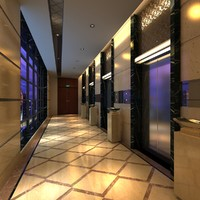 3D model elevator lobby