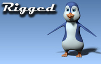 3D rigged cartoon penguin