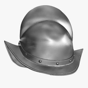 3D spanish comb morion helmet model