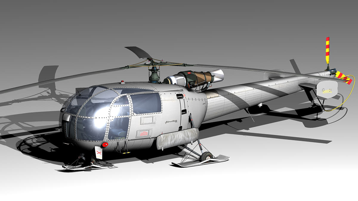 3D model single helicopter