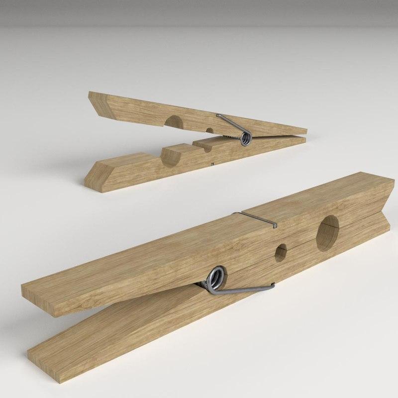 clothespin spring 3D model