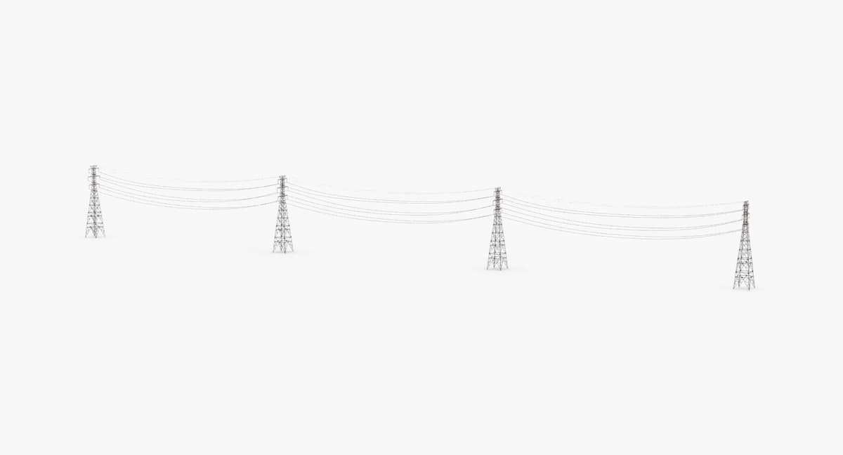 3D power-lines- high-tension