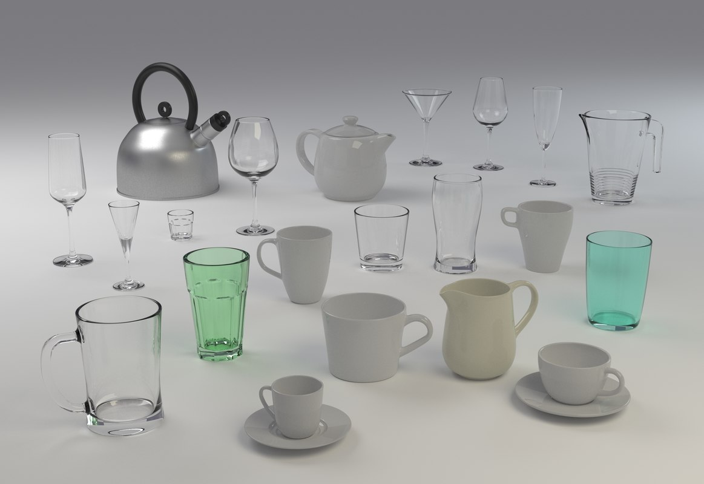 3D model glasses mugs jugs