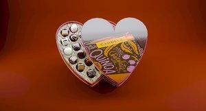 3D heart chocolate box model