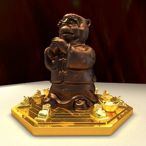 3D chinese monkey gold ingot