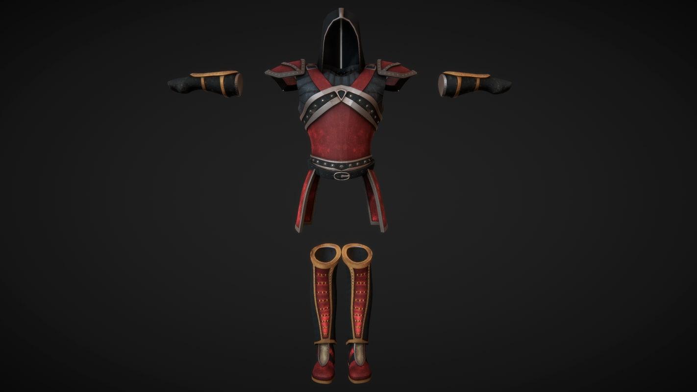 3D model armor set leather