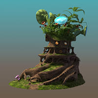 3D fairy tree house model