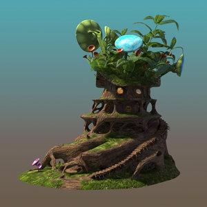 3D fairy tree house model