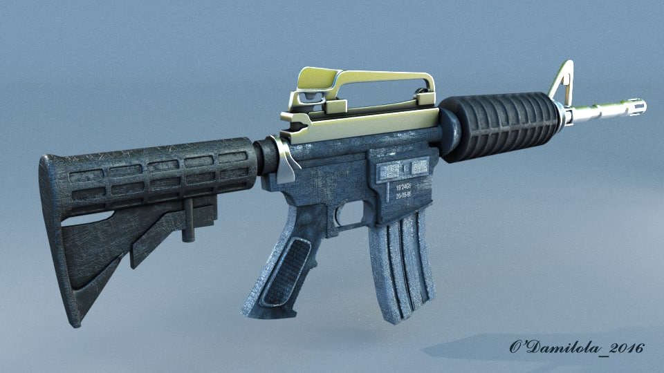 3D military assault rifle