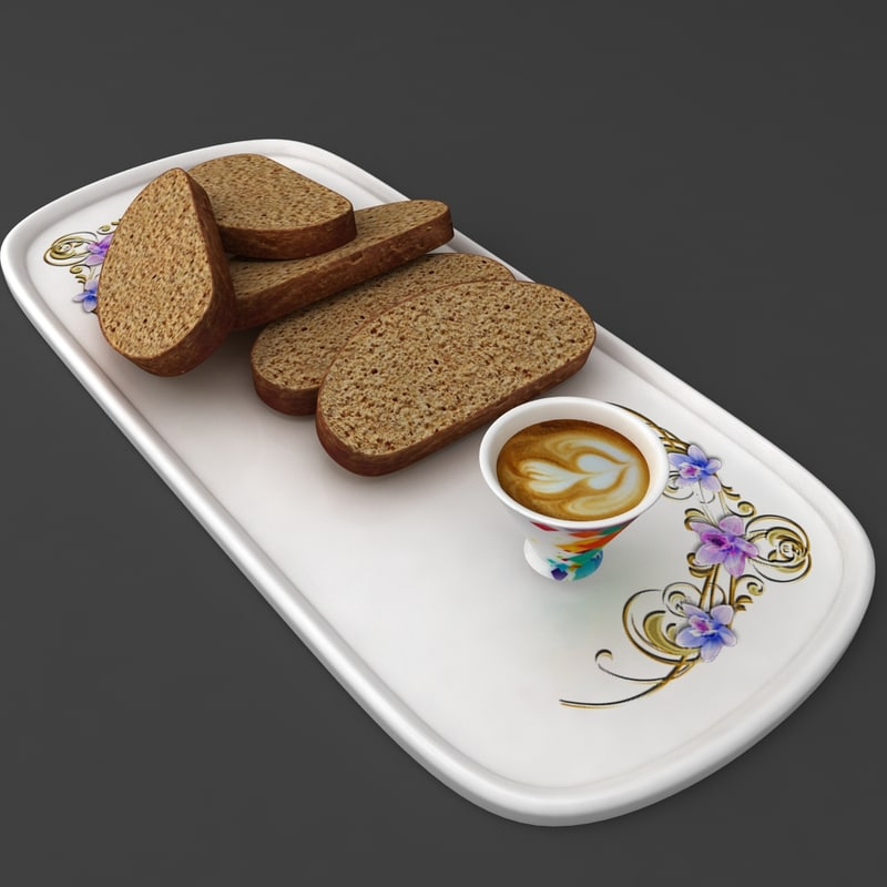 bread plate tea coffee 3D model