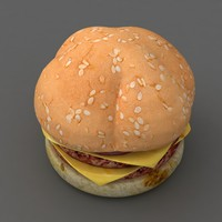 3D burger hamburger junk food