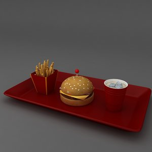 burger fries cold drink 3D model