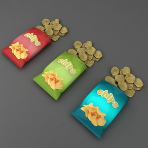 3D potato chips open packet model