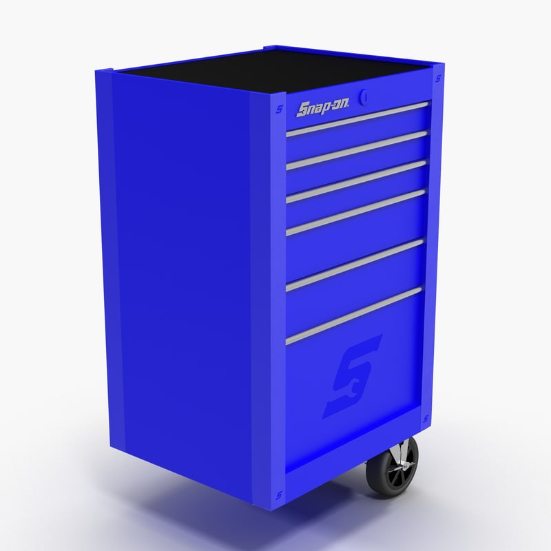 3D model tool storage end blue