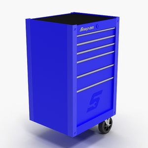 3D model tool storage end blue