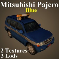 3D mitsubishi pajero blu