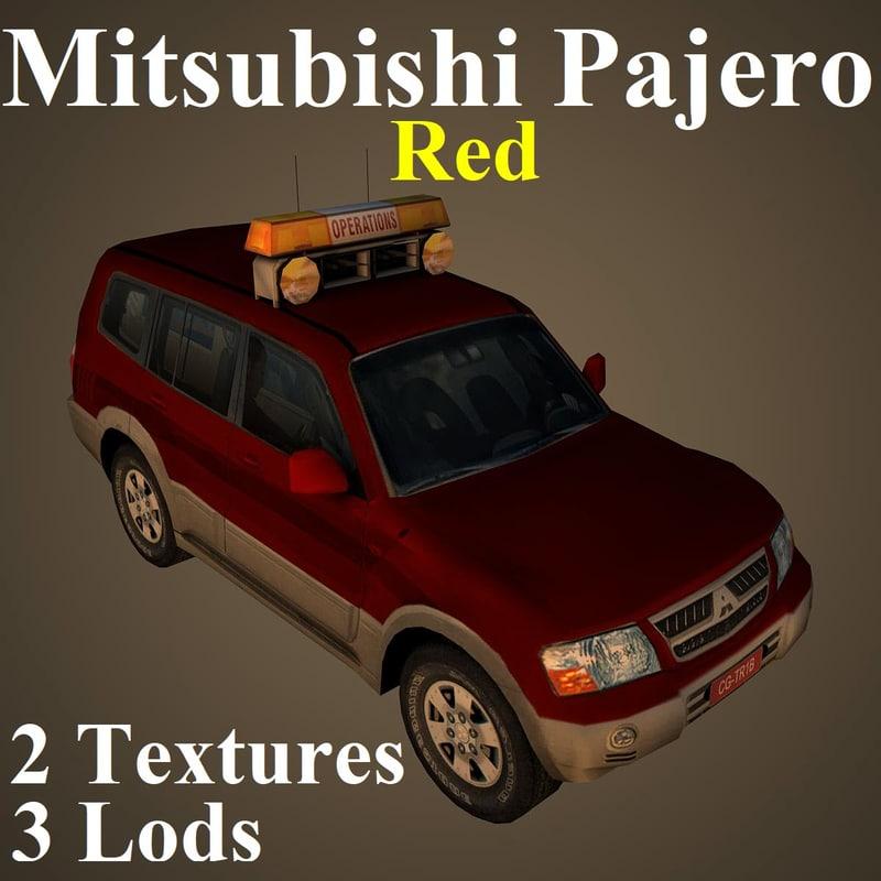 mitsubishi pajero red 3D model