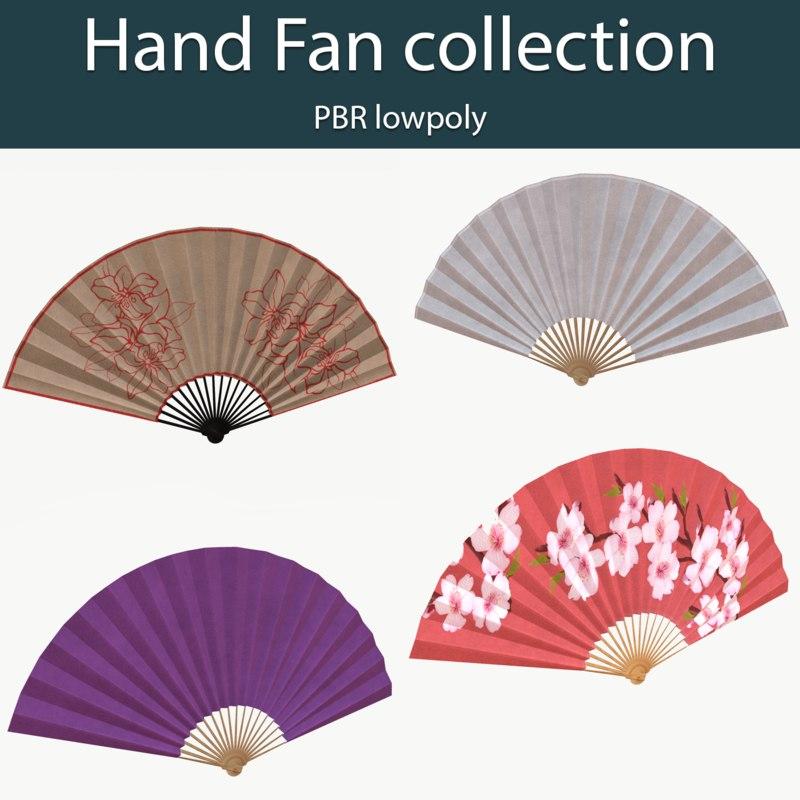 hand fans pbr 3D model