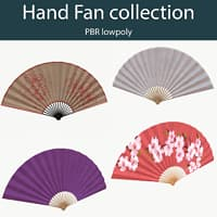 Hand Fan collection (PBR lowpoly)