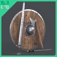 viking handed weaponry set 3D