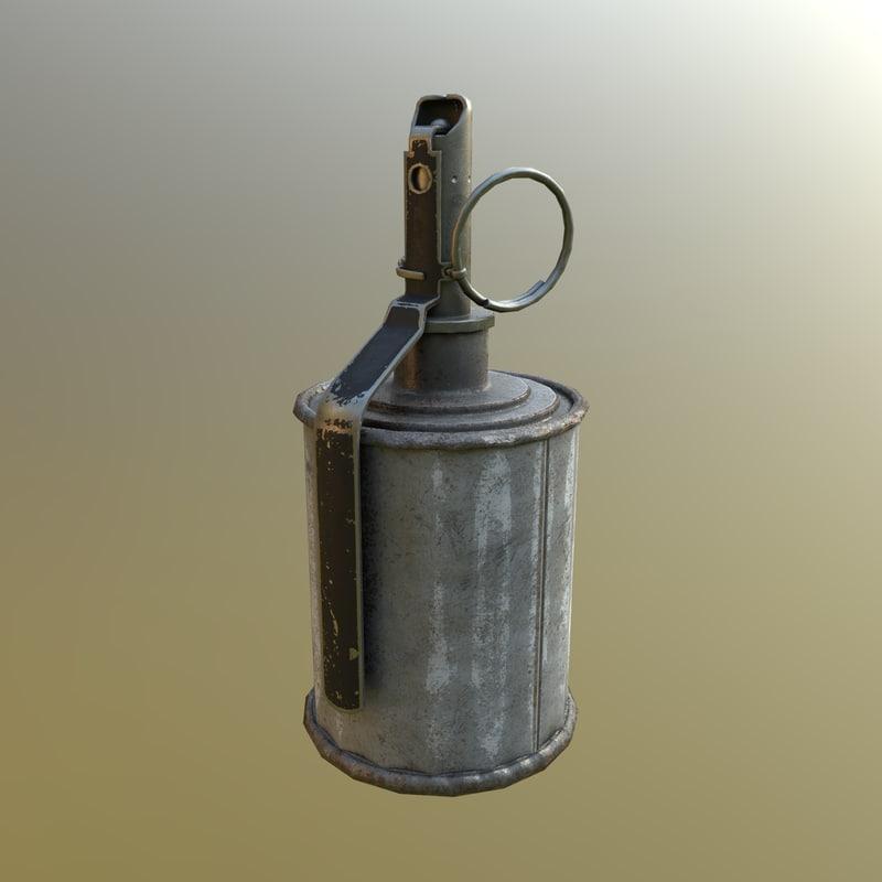 soviet rg-42 grenade pbr 3D model