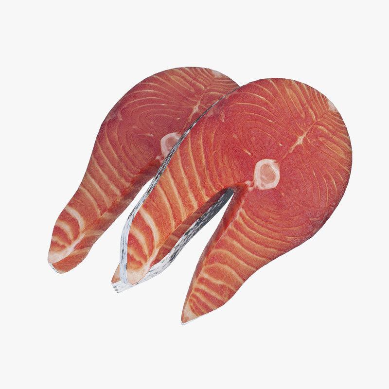 3D salmon steaks model
