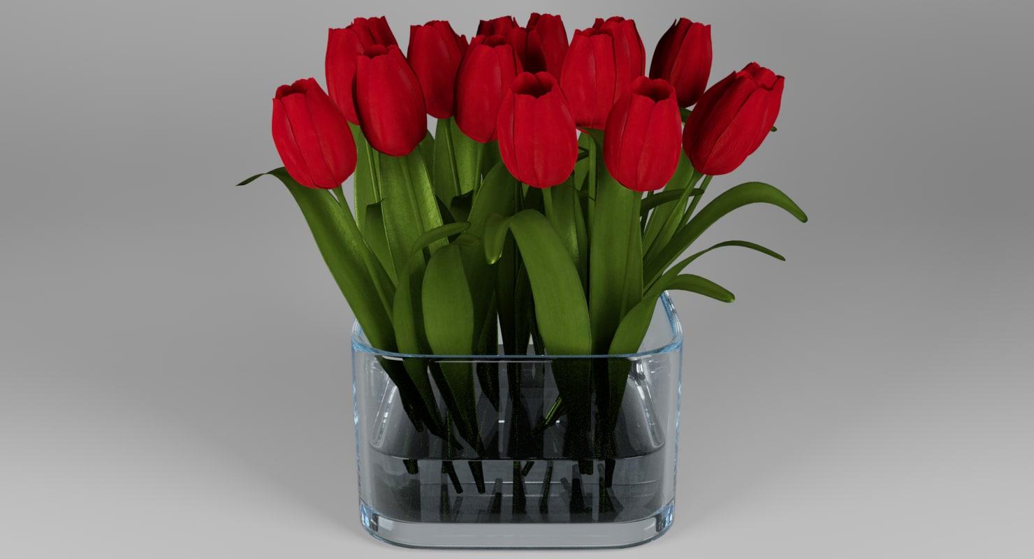 Tulips Glass Bowl 3d Model Turbosquid 1160701