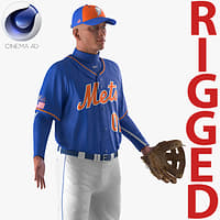 baseball player rigged mets 3D model