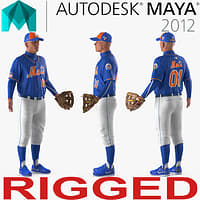 3D baseball player rigged mets model
