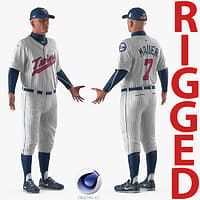 baseball player rigged twins 3D model