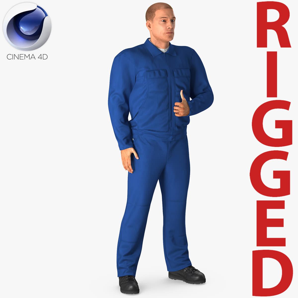 mechanic worker wearing blue 3D model