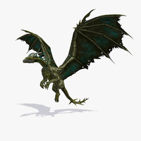 realistic bronze dragoness dragon animation 3D