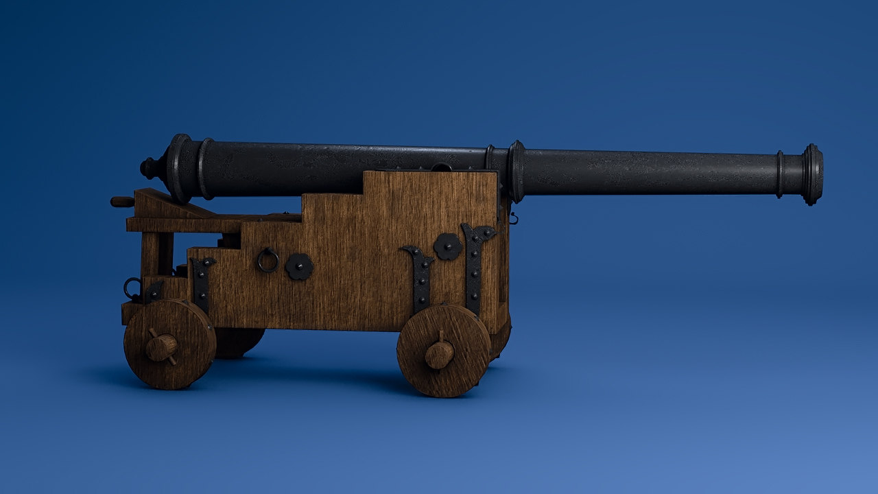 3D naval cannon model